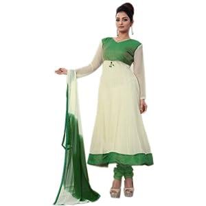White and Green long Anarkali Dress
