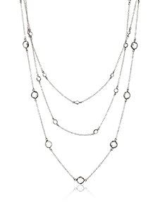 Belargo Women's Classic 3-Layer Necklace, Gunmetal