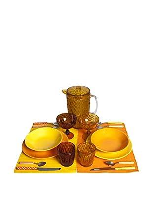 Enjoy Home  Geschirr 19 tlg. Set Arabaphoenix gelb/orange