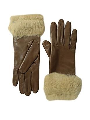 Portolano Women's Leather Gloves with Rabbit Fur Cuff (Taupe/Camel Rabbit)