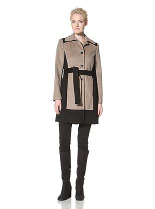 Calvin Klein Women's Wool Colorblock Belted Coat (Oatmeal/Black)