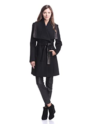 Elie Tahari Women's Marina Coat with Leather Trim (Black)