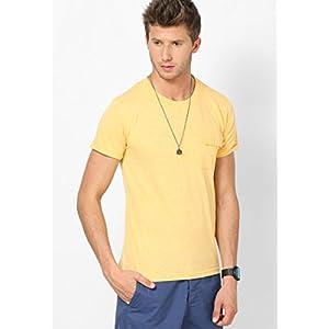Yellow Marl Half Sleeve Crew Neck T-shirt
