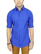 AA' Southbay Men's Royal Blue Linen Cotton Long Sleeve Solid Casual Shirt