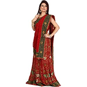 Bridal Red Lehenga Choli with Hand-Embroidered Flowers and Sequins - Chiffon