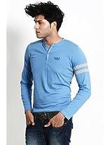 Solid Blue Henley T Shirt
