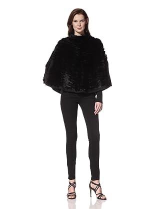 525 America Women's Lacey Fur Knit Poncho (Black)