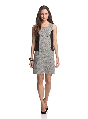 JB by Julie Brown Women's Tweed Dress with Leather Trim (Black/Black)