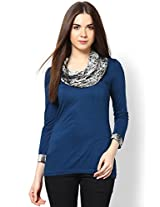 Blue with Black Formal Cowl Neck Top _FTK23-NVBLGRY-12