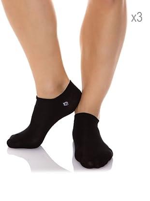 Pierre Cardin Pack x 3 Pares Calcetines Invisible Hilo Escocia Con Lycra (Negro)