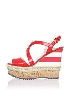 PRADA Women's Wedge Sandal (Red/White)