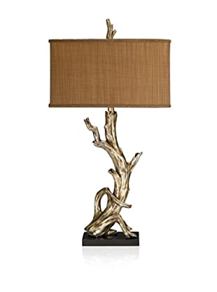 Artistic Driftwood Table Lamp, Silver Leaf