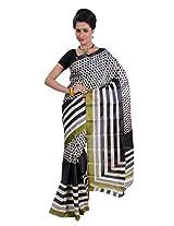 Parichay Women's Silk Saree(Green & Black)
