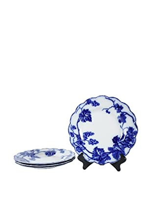 Set of 4 Flow Blue Warwick By Jb Plates, Blue/White