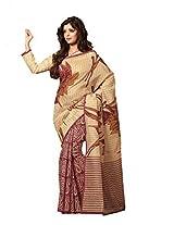 Taanshi Women Cotton Saree With Blouse Piece (3040, Beige)