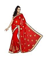 Red Bridal Wear Saree Indian Zari Work Chiffon Wedding Sari