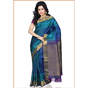 Kanchipuram Silk Handloom Saree with Blouse, Green and Blue