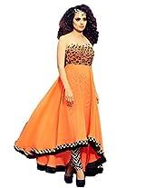 Orange Colour Georgette Party & Wedding Wear Stone Work Anarkali Churidar Suit (Jinaam) 2006