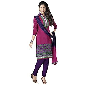 Salwar Studio Womens Cotton Salwar Unstitched Dress Material (Mcm-4568 _Pink & White)