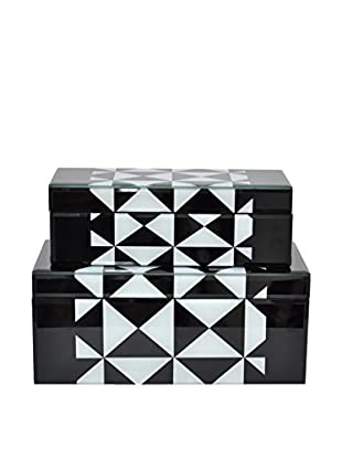 Three Hands Set of 2 Wood Boxes, Black/White