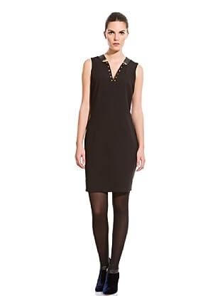 Cortefiel Vestido Tachas Y Piel (Negro)