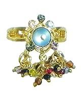 DollsofIndia Blue Stone Studdd Adjustable Ring with Beaded Jhalar - Stone and Metal - Blue