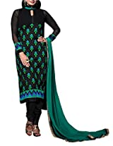 Admyrin Black Georgette Embroidered Suit With turquoise Dupatta