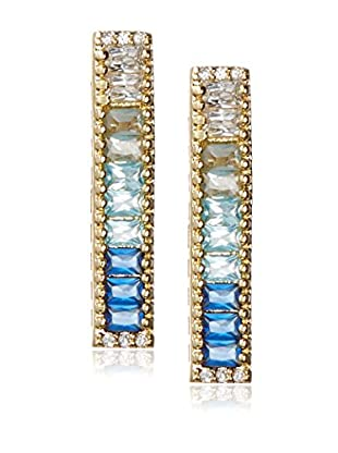 Kevia Channel Set Bar Earring with Ombre CZ Baguettes