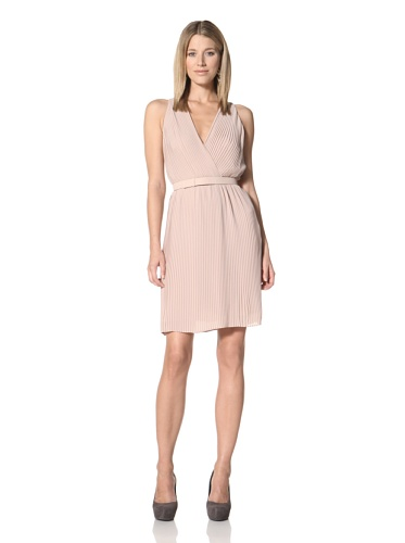 Halston Heritage Women's Pleated Dress with Belt (Nude)