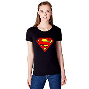 iLyk Women's Superman Printed T-Shirt (10008_Black_Small)