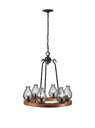Bel Air Lighting Black Hand-Made Vases 6-Light Chandelier Wheel