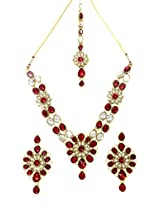 Scrunchh Maroon and White Flower Kundan Set