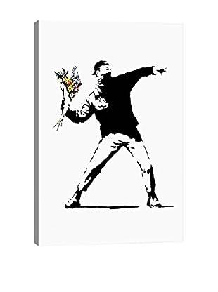 Banksy Rage, Flower Thrower Giclée On Canvas