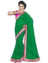 Viva N Diva Green Color Pure Georgette Saree.