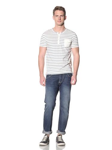 Barque Men's Cotton Slub Jersey with Woven Contrast Detail (Blue Stripe)