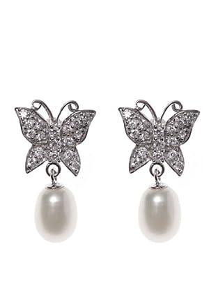 Silver One Pendientes Mariposa Circonita Perla