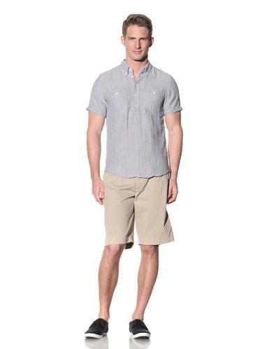Barque Men's Fine Stripe Short Sleeve Shirt (Blue)