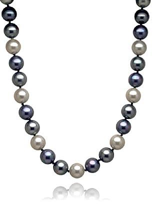 Perldor Kette Muschelkernperlen blauviolett/grau 60650056