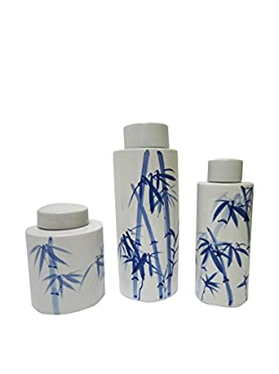Asian Loft Set of 3 Bamboo Pattern Ceramic Vases, White/Blue