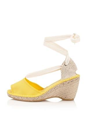 André Assous Women's Happy Peep-Toe Espadrille (Yellow)