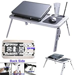 Portable Foldable Laptop Table Stand With 2 Fan Usb