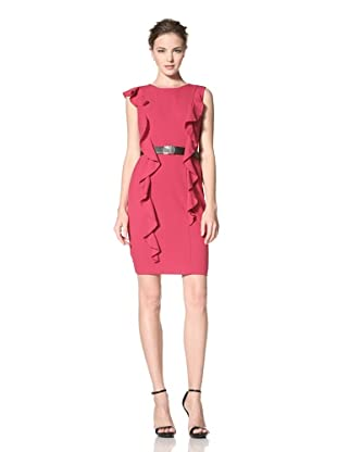 Calvin Klein Women's Dress with Long Ruffle Detail and Belt (Begonia)