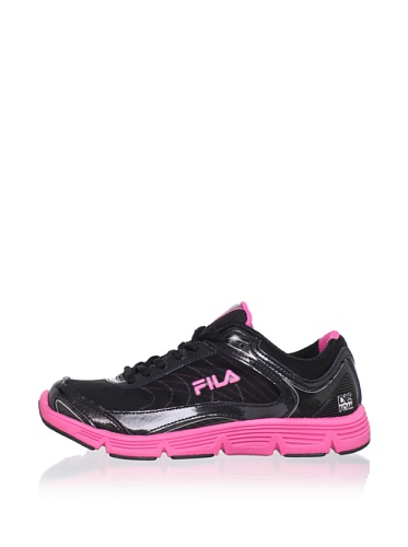 Fila Kid's Stencil Lite Running Shoe (Little Kid/Big Kid) (Black/Metallic Silver/Hot Pink)