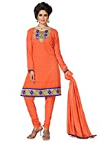 Manvaa Orange Embroidered Suit With Chanderi Cotton Fabric