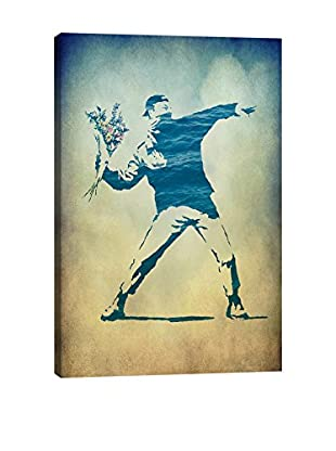 Banksy Rage, Flower Thrower Watercolor Gallery Wrapped Canvas Print