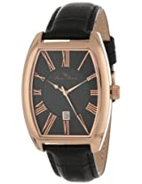 Lucien Piccard Men's 10029-RG-01 Grivola Ortlet Black Dial Black Leather Watch