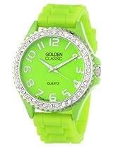 Golden Classic Women's 2220-green Glam Jelly Rhinestone Green Silicone Watch