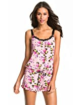 Betsey Johnson Luscious Lite Sleep Romper Pink Floral (Small)