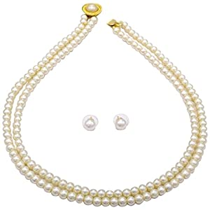 SIMPLE & SOBER DOUBLE STRING SHELL PEARLS SET FROM HYDERABAD - PCN1012 - Necklaces by PearlsCart
