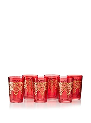 Found Objects Set of 6 Punto Moroccan Glasses (Red)